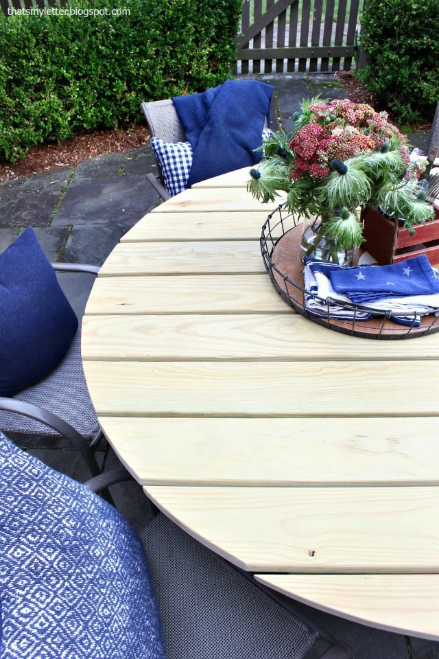 top view outdoor round dining table