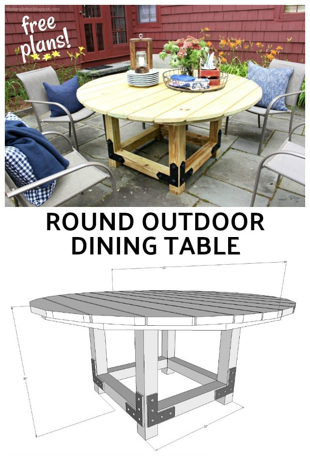 Diy round outdoor dining table with outdoor accents for Free dining table plans
