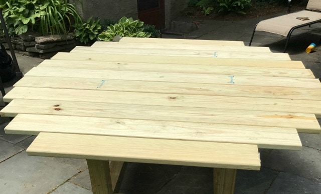 using deck boards for table top