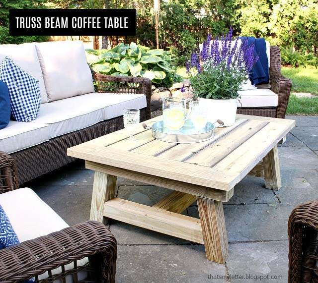 diy truss beam coffee table