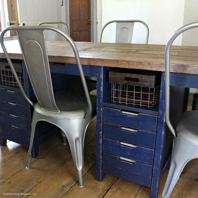 work table with drawer and open shelf storage