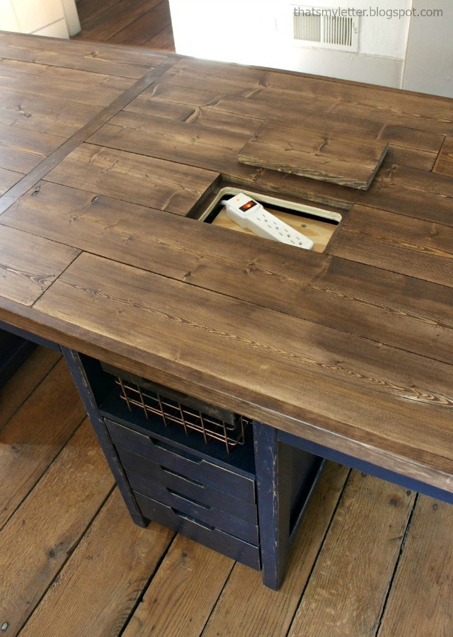 work table with hidden power
