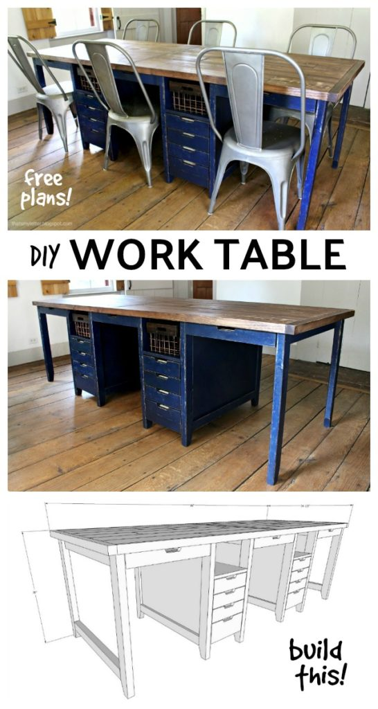diy multipurpose work table with storage free plans