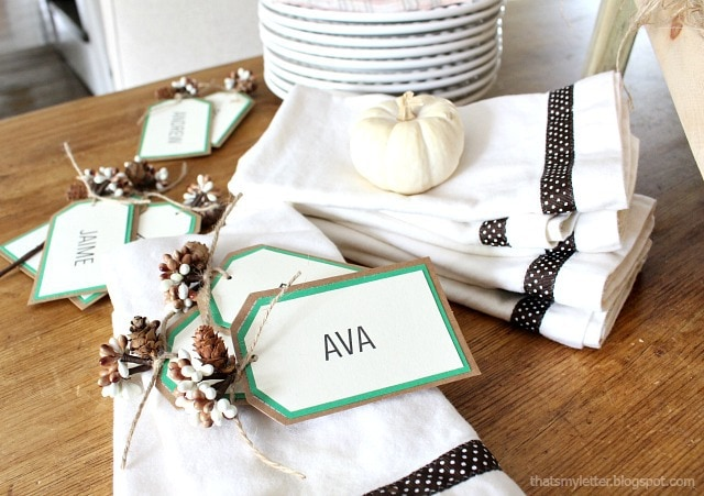 diy fall napkins and place cards