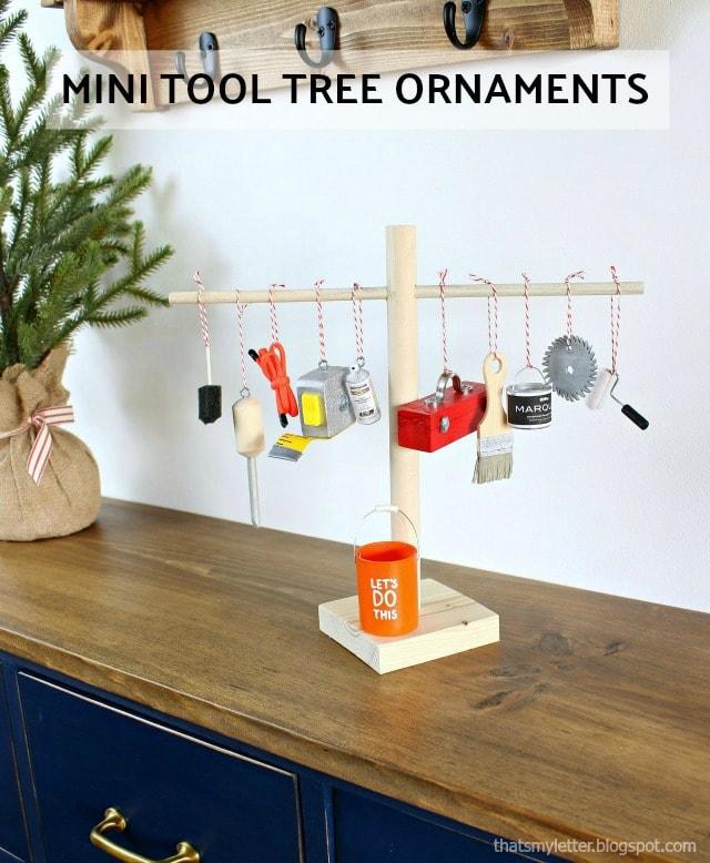 diy mini tool tree ornaments