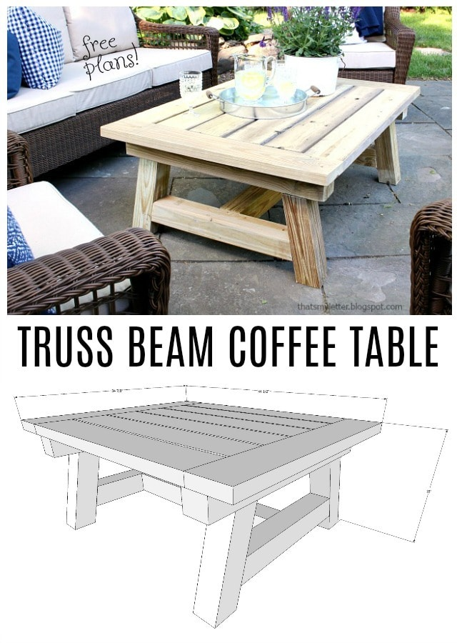 truss beam coffee table free plans