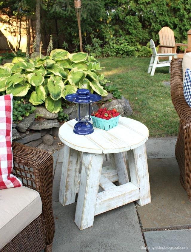 circular wood side table