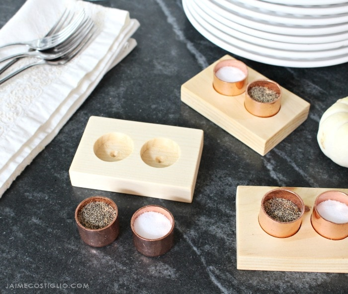 individual copper salt and pepper cellars