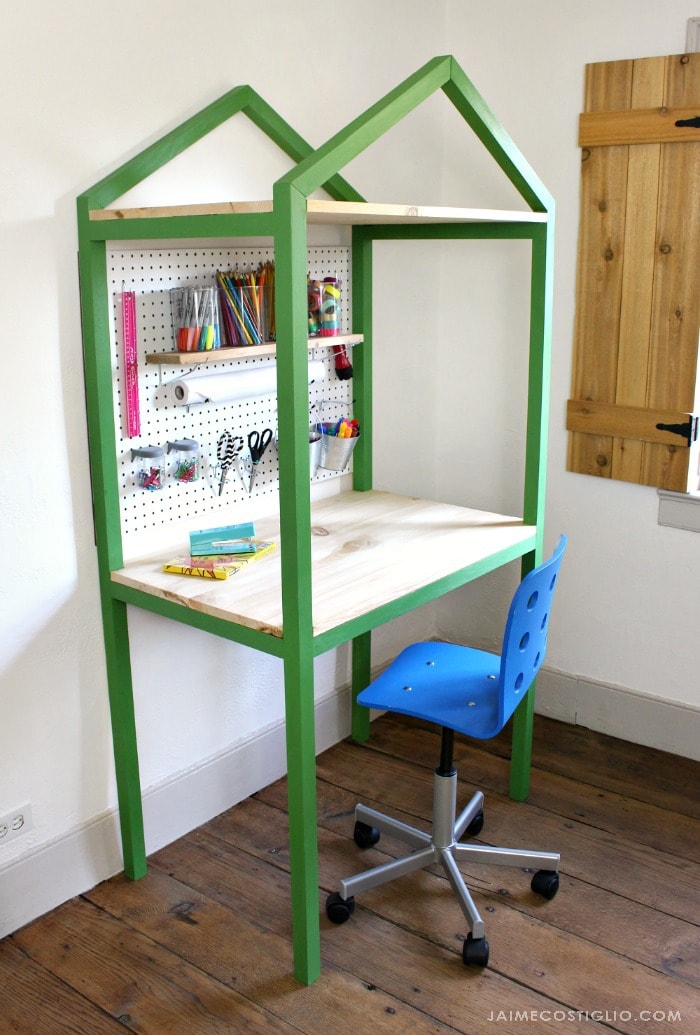 diy house shaped desk with storage