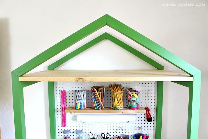 house shaped desk with top shelf storage