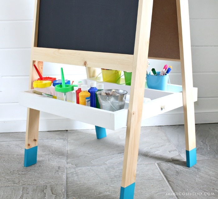 kids easel storage tray