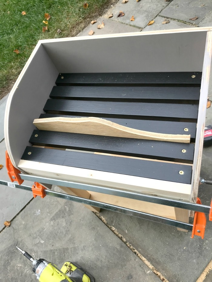 attaching grill slats using scrap wood spacer