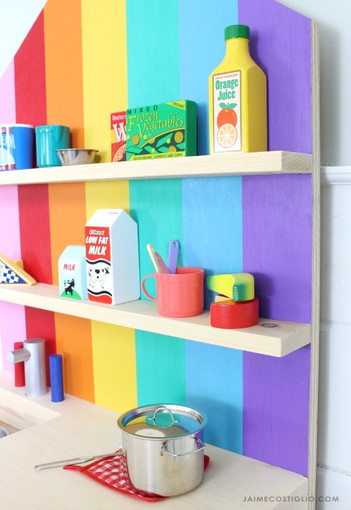 play kitchen shelf detail
