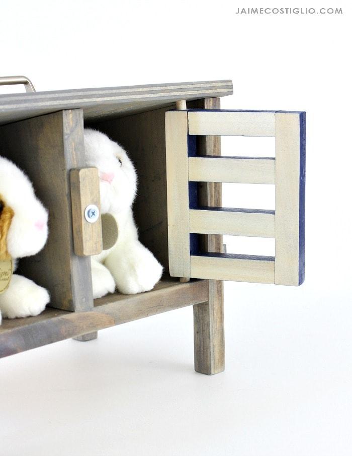 bunny hutch door hardware detail
