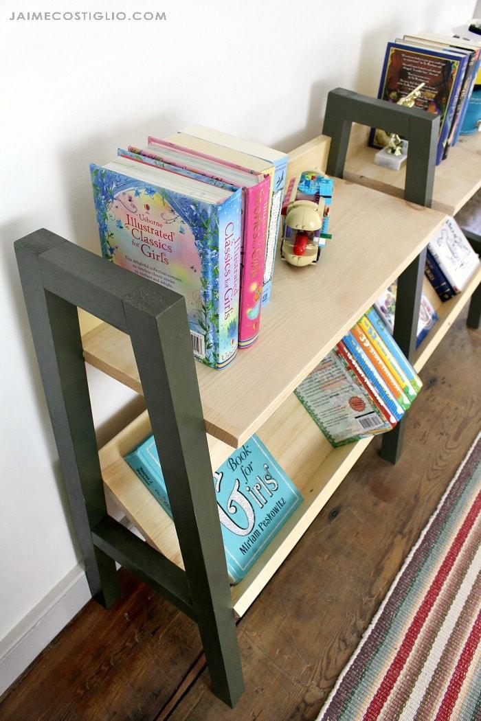 midcentury modern bookshelf top shelf storage