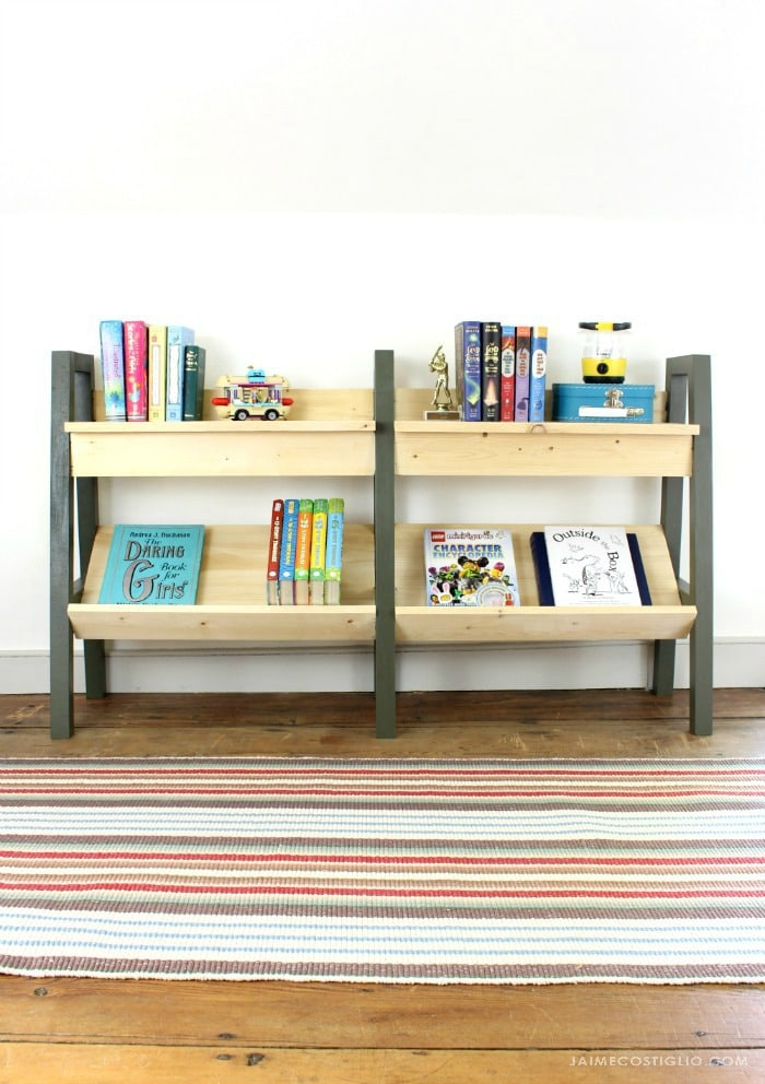midcentury modern bookshelf straight view