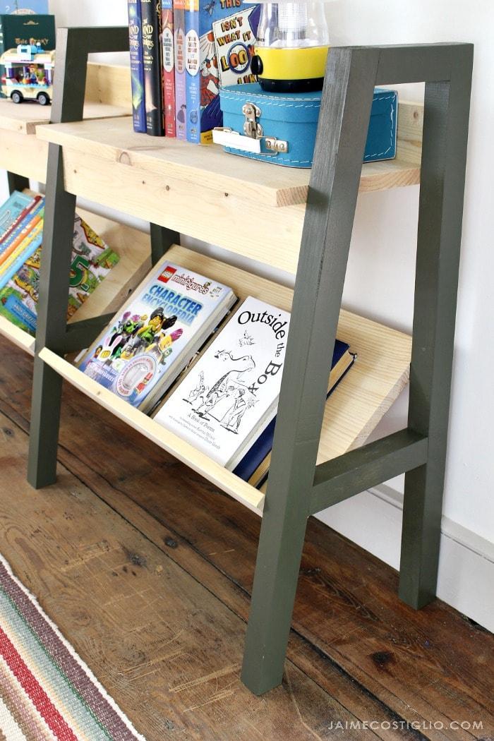 midcentury modern bookshelf leg detail