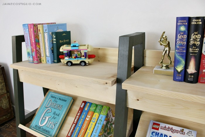 midcentury modern bookshelf shelf detail