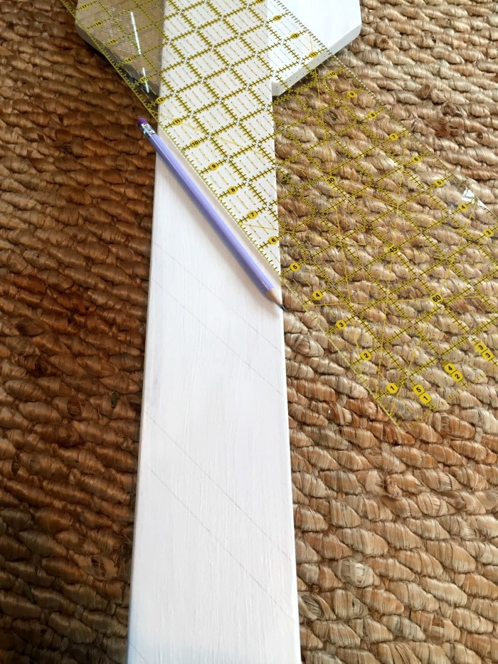 using a clear quilting ruler for angled lines