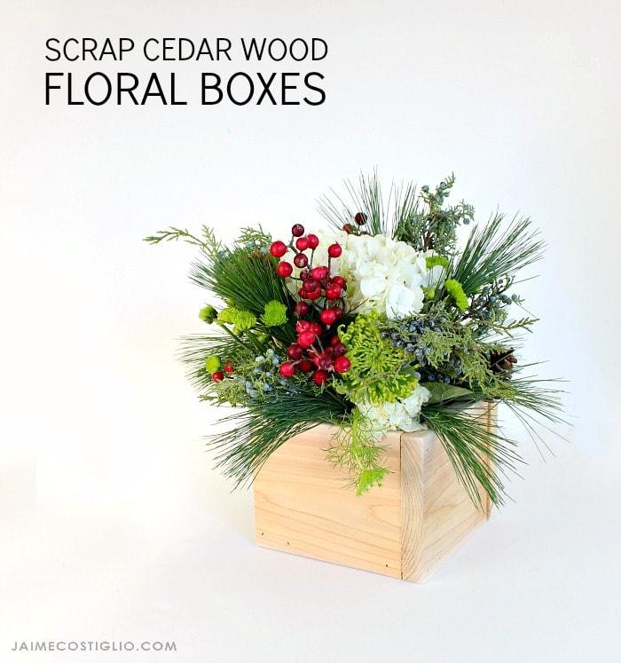 holiday greenery arrangement in cedar box