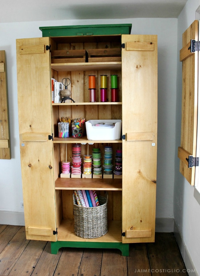 tall cupboard with doors open