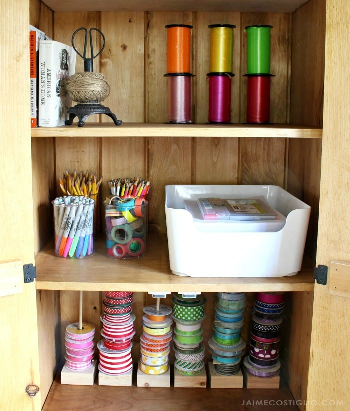organized interior cupboard shelves