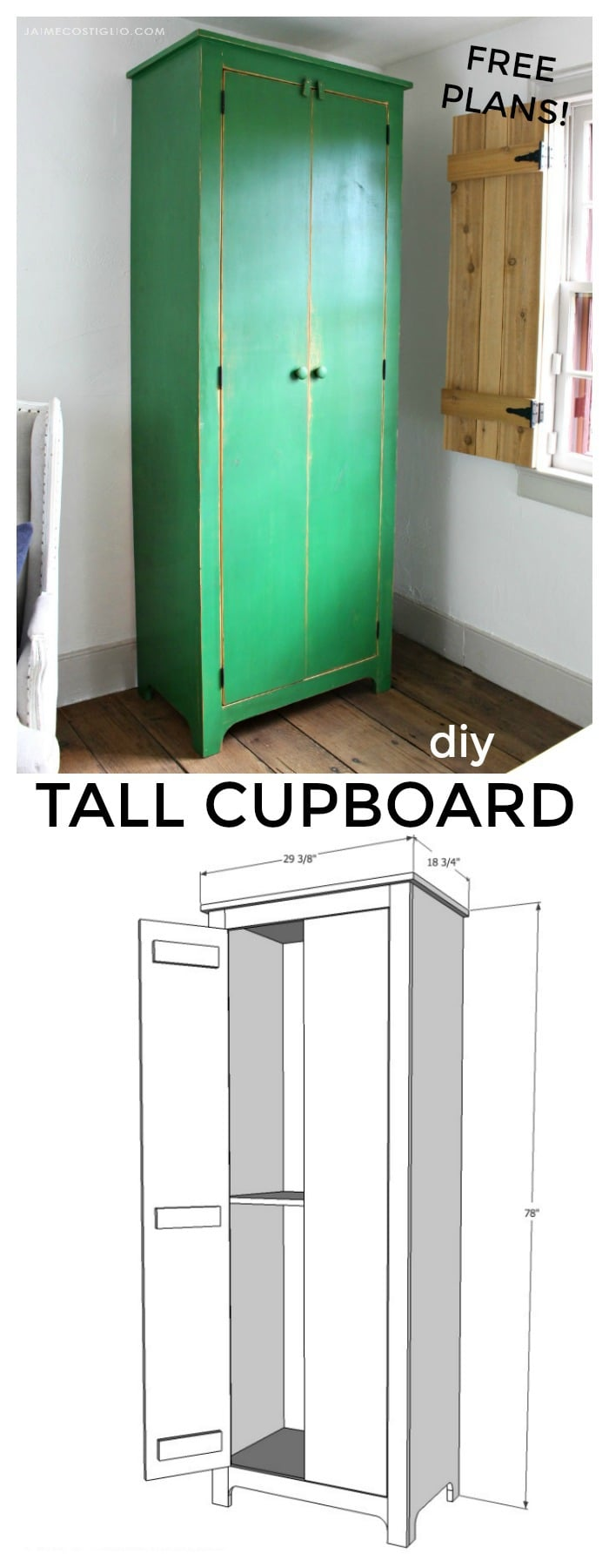 diy tall cupboard free plans