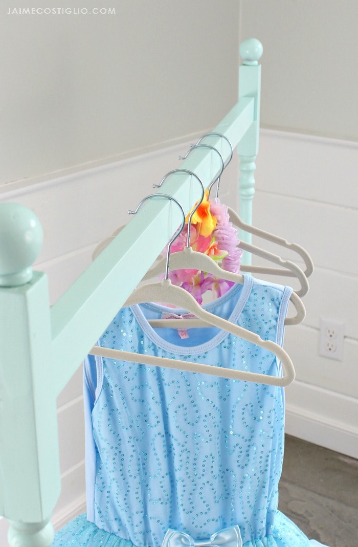 diy wardrobe rack rod detail with hangers