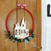 village cut out wreath