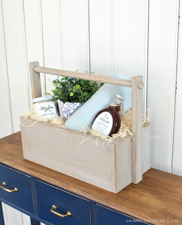 cozy wood gift basket
