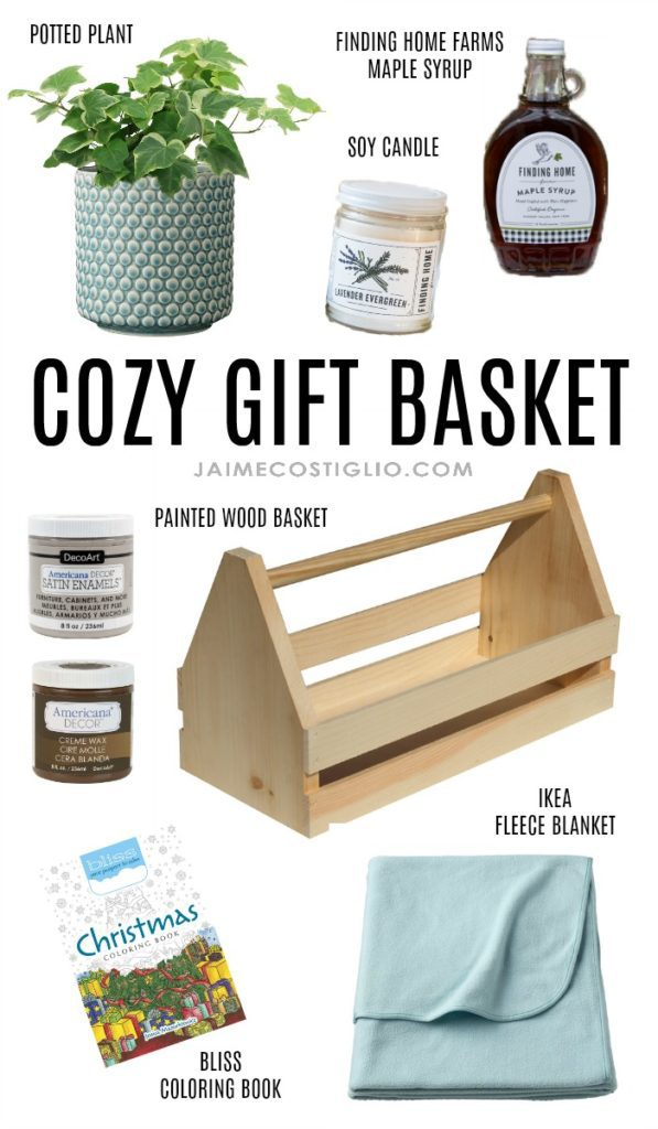 cozy wood gift basket collage
