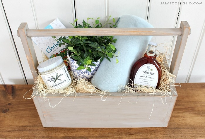 cozy wood gift basket filled