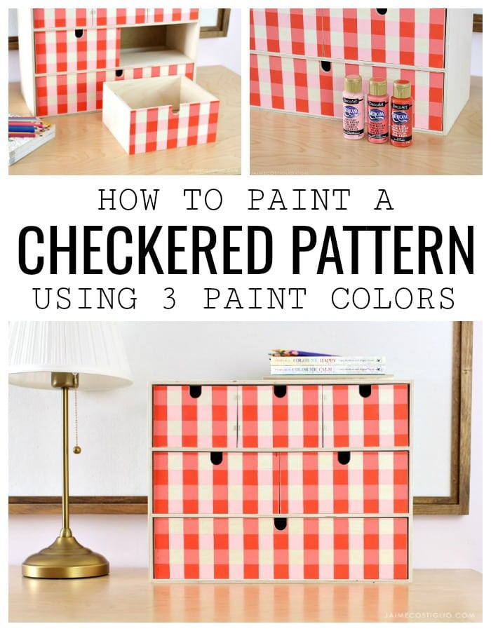 ikea moppe storage chest painted with checkered pattern