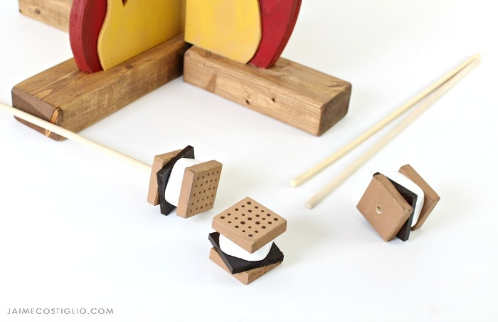 play campfire with wood smores on sticks