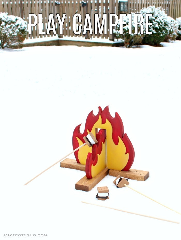 diy faux campfire in snow