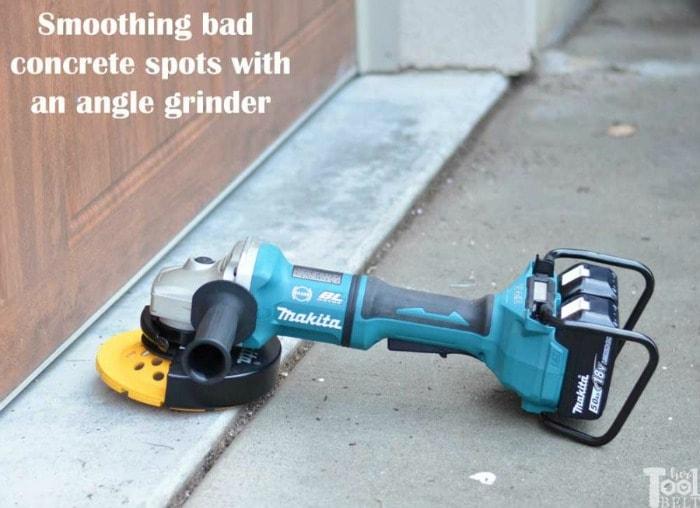 Her Tool Belt angle grinder on concrete
