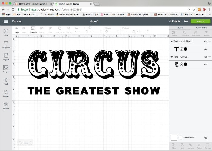 circus text on cricut