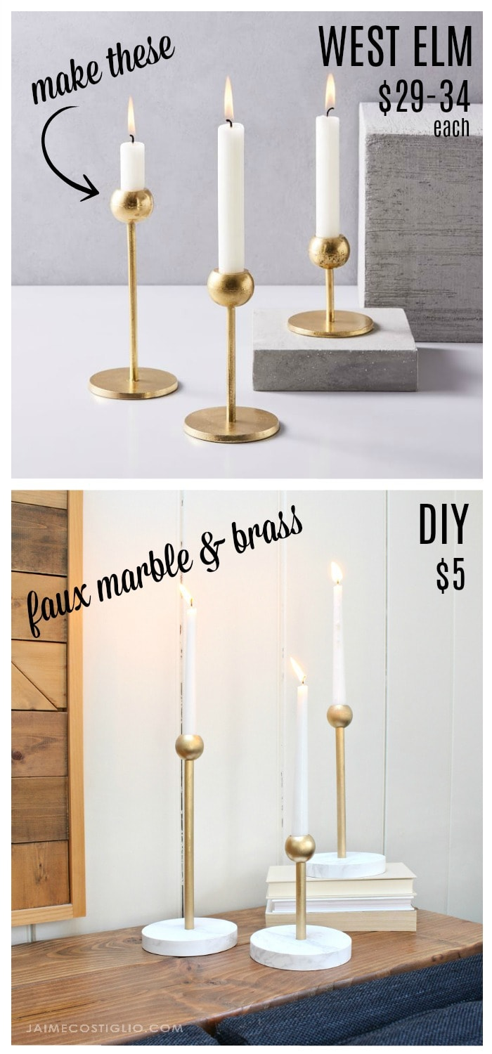 diy faux brass and marble candleholders collage