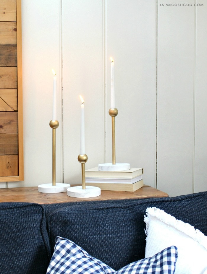 faux brass and marble candleholders