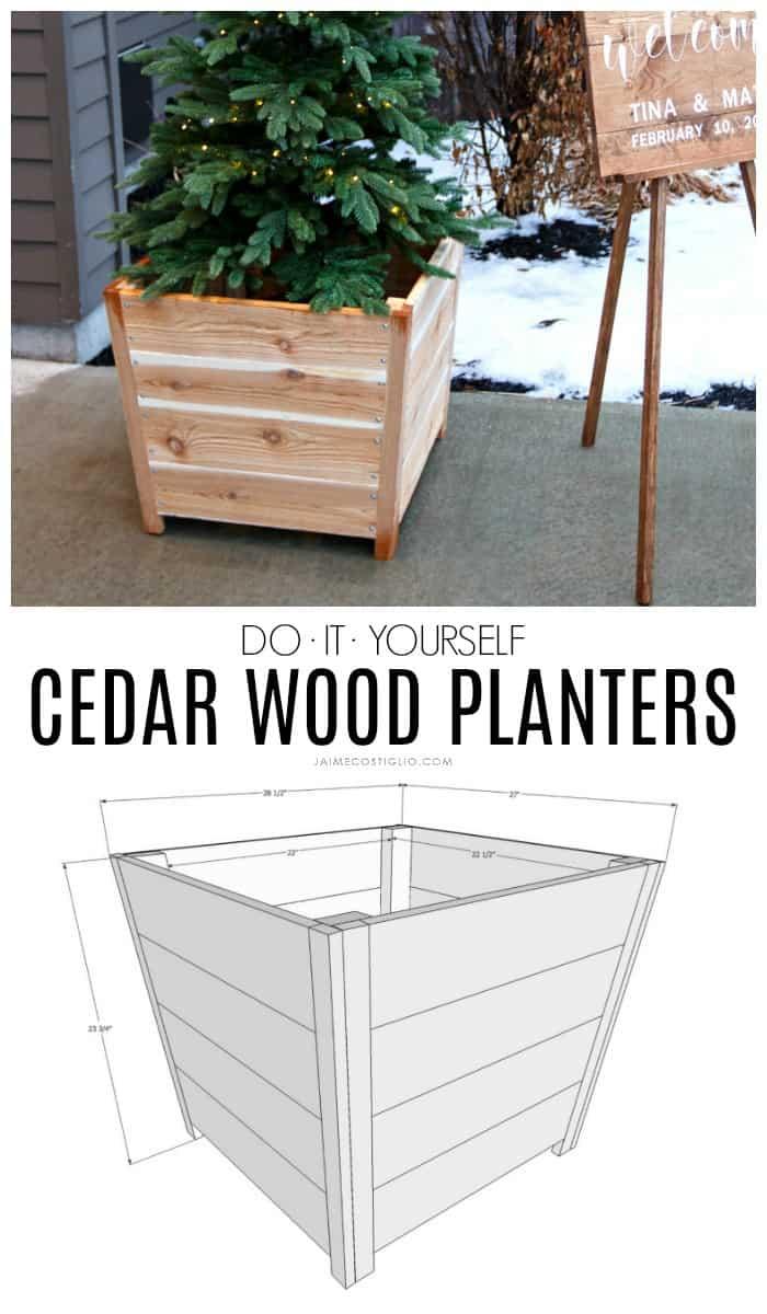 exterior cedar wood planters
