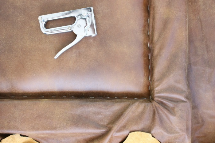 leather headboard stapled