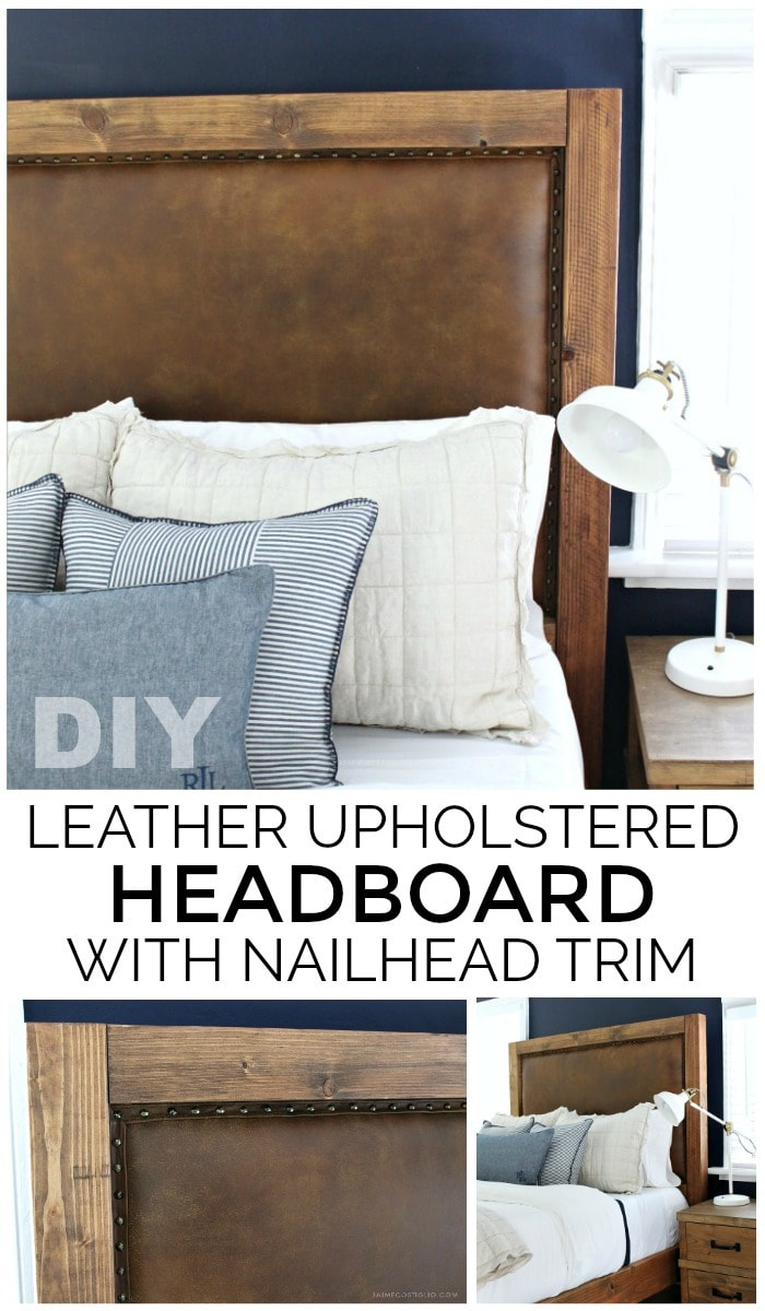 leather upholstered headboard with nailhead trim graphic