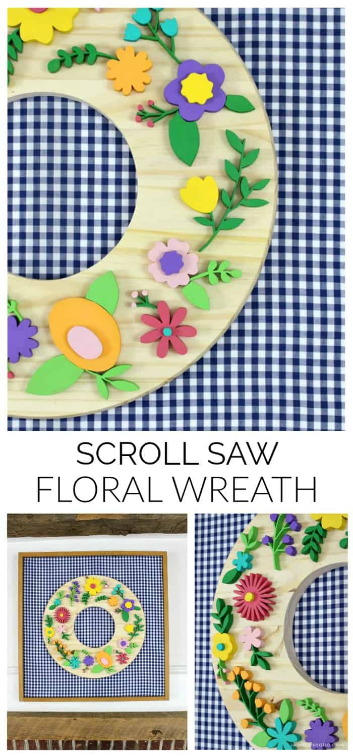scroll saw floral wreath collage