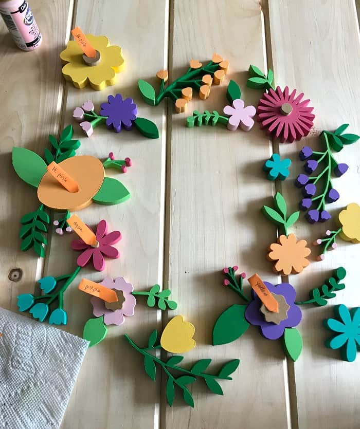 scroll saw wreath flower placement
