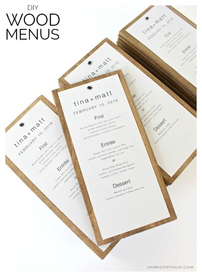 wood backed wedding menus