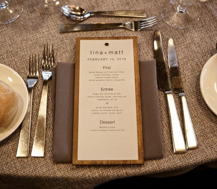 Jaime Costiglio wedding menus