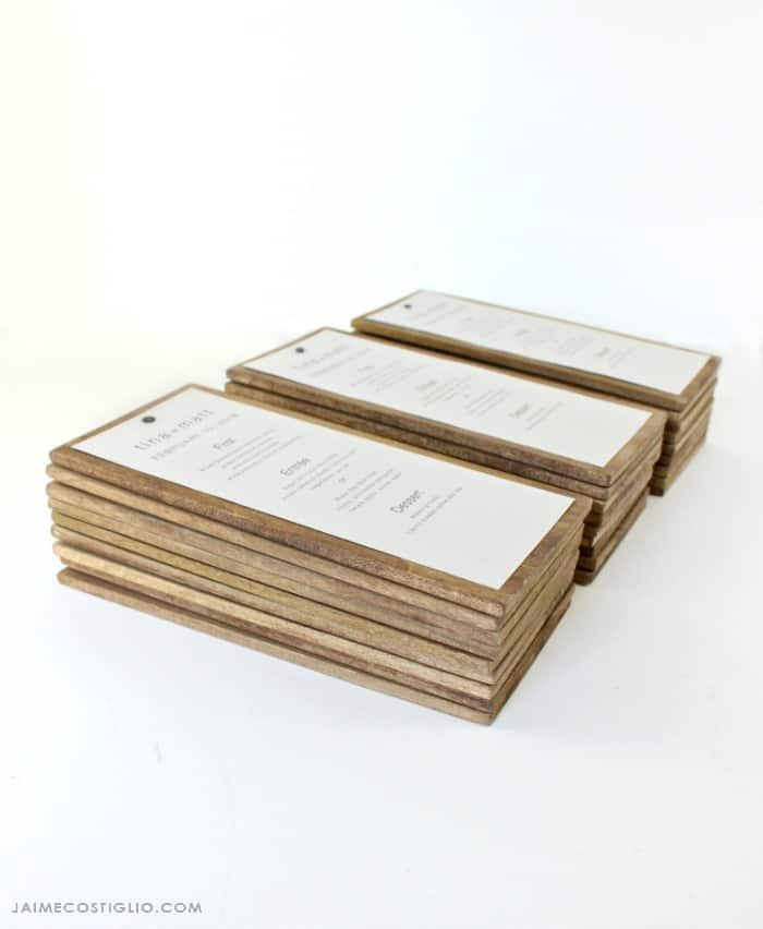 wood backed menus