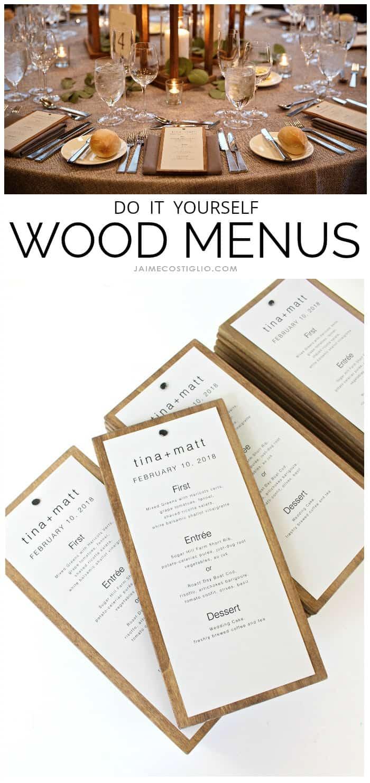 diy wood menus wedding decor