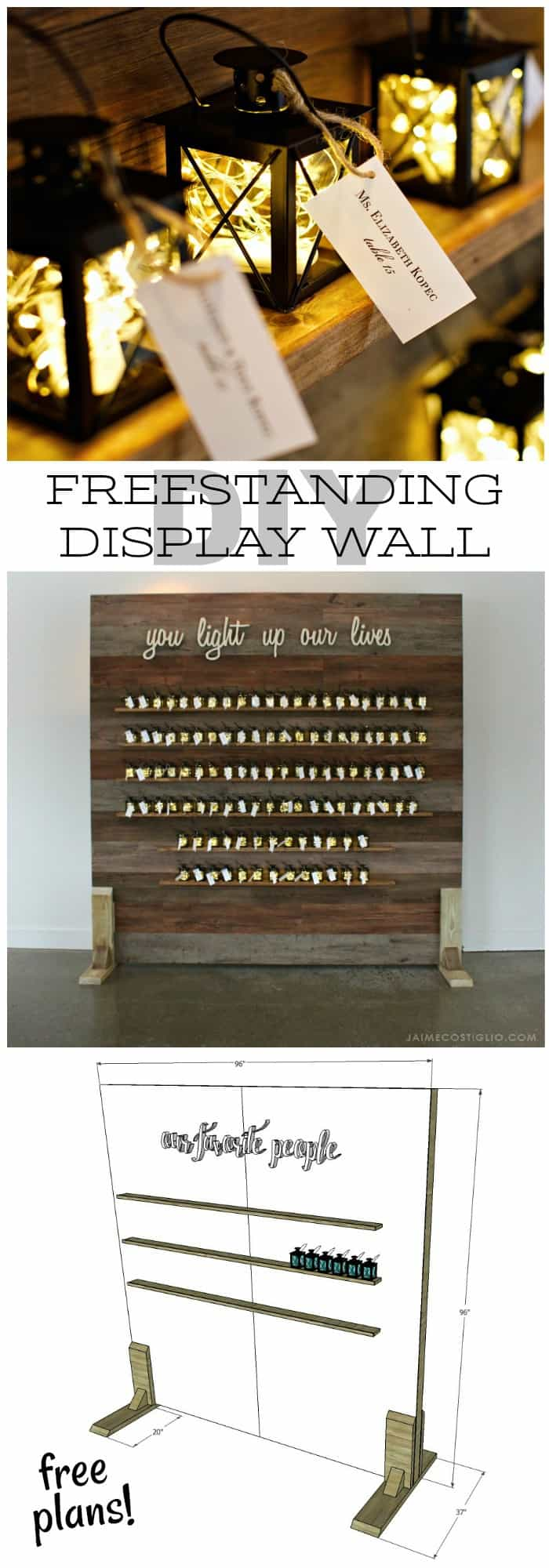 freestanding display wall free plans