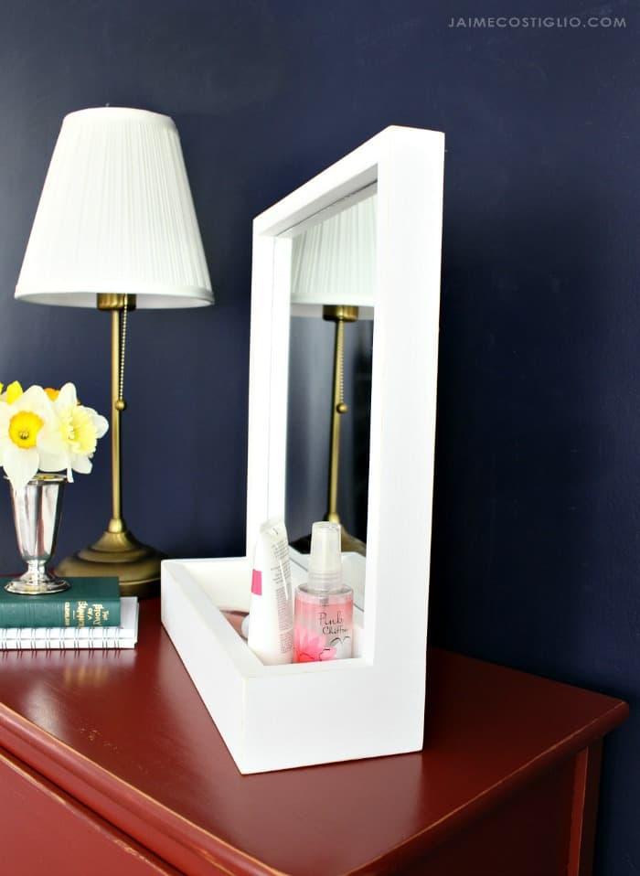 self standing storage mirror
